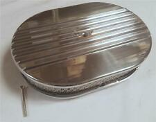 "12"" Oval Half Finned Polished Aluminum Air Cleaner Classic Nostalgia Factory 2nd"