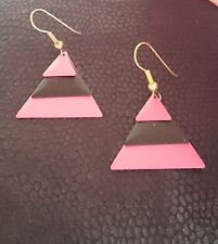 Multicoloured pink and black triangle dangley earrings (multi 188)