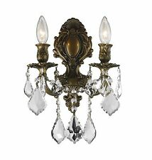 "2-Light Antique Bronze Finish W 12"" x H 13"" Diana Crystal Wall Sconce Light"