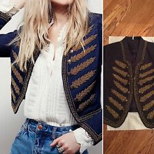 NWT FREE PEOPLE EMBELLISHED BAND BOHO CHIC MILITARY JACKET SIZE M New $198