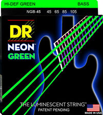 DR NGB-45 NEON HiDef GREEN COATED BASS STRINGS, MEDIUM GAUGE 4's- 45-105