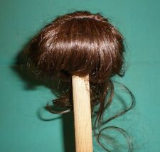 "doll wig/ human hair 11"" to 12"" dark brown, pony tail hairstyle"