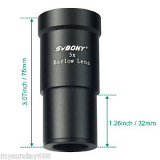"SVBONY Metal 1.25""(31.7mm) 5X 3.08""(78.3mm) Barlow Lens for Telescope Eyepieces"