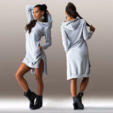 Womens Hooded Dress Asymmetric Jumper Long Top Hoodie Ladies Sweatshirt Pullover