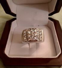 Men's Sterling Silver Ring with Cubic Zirconia Stones,Purity 925, Size 10.25