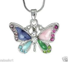 Butterfly w Swarovski Crystal Multi Color Charm Wings Pendant Necklace New Gift