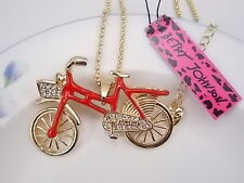 Betsey Johnson cute crystal rhinestone bike bicycle pendant necklace # F355A