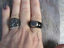 Genuine Black Onyx & Blue Druzy & Gold Cigar Band Ring Estate Size 8.75