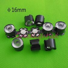 10pcs 1W 3W High Power LED lens 16mm convex pmma 60degree with black holder