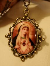 Scalloped Ball Clustered Medieval Immaculate Heart Mary Porcelain Medal Necklace