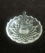 Clear Crystal Glass Round Ring Holder Dish-Scalloped Edge-Starburst Pattern