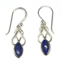 Handmade in 925 Sterling Silver, Real Lapis Lazuli Celtic Drop Earrings With Box