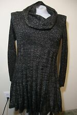 Glitter Fitted Sweater Dress with Scarf Womens L