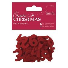 Red Felt Advent Calendar Numbers Christmas 1-24 Applique Craft Embellishments