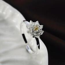 New 925 silver filled Adjustable Lotus Ring Beautifully birthday gift jewelry