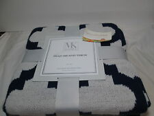"New MK Home Jacquard Tile Knit Throw Blanket 50""x60"" ~ Indigo Navy & Off-White"
