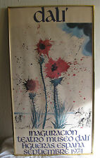 RARE 1974 Salvador Dali Original Exhibition Frame Poster Spain Colorful Flowers