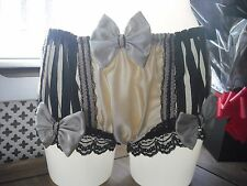 French vtg style satin beige & noir nylon net sissy knickers/panties taille m