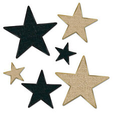 6 pc GLITTERED  Cardboard Cutout  Gold & Black STARS Awards Night Hollywood  Bir