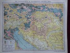 Landkarte, Die Volksdichte in Österreich - Ungarn um 1900, Brockhaus 1904