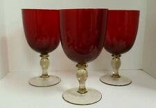 Hand Blown Ruby Red Wine Glasses with Light Amber Stems Set of 3