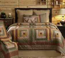TALLMADGE LODGE 3pc ** King ** QUILT SET : PATCH GREEN BROWN RUSTIC LOG CABIN