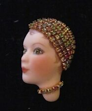 Vintage 90s Porcelain Lady 20's Flapper Rhinestone Head Pin/Brooch-Artist Signed