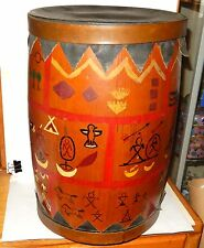 VINTAGE INDIAN BARREL SHAPE DRUM WITH DRAWINGS