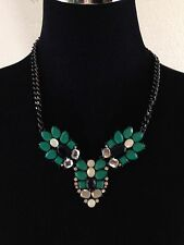 """Black Green And White Flower Necklace Thick Chain  21"""" Unmarked"""