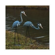 Great Blue Heron Statues Crane Bird Sculpture Outdoor Metal Yard Art Lawn Decor