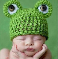 Infant Hat Handmade Baby Girl Boy Soft Prop Hot Green Crochet Knit Frogbaby