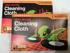 2 x Calotherm vinyl record cleaning cloths - impregnated anti-static microfibre
