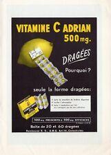 VITAMINE C LABO ADRIAN PUBLICITE 1961 FRENCH AD