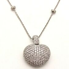 LARGE DIAMOND PUFFY HEART PAVE NECKLACE 2.05CT G/SI 14K WHITE GOLD 8.2 grams