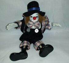 Vintage Porcelain Clown Doll Hands and Face Ceramic Hat Bow Tie Circus Figurine