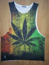 Men Tank top Ganja rasta Marijuana Jamaica Weed reggae Joint Smoke M-L Gibgae