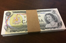 Bank of Canada Uncirculated Bundle Lot of 100 1 Dollar 1973 - Steinberg's Stamp