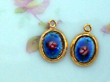 #909e Vintage Enamel Charms Gold Tone Flower Drops Charms Oval Roses Guilloche
