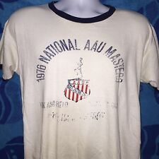 VTG 1976 AAU Masters Champion Blue Bar Ringer T Shirt 70s Faded Distressed *M