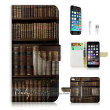 "iPhone 6 Plus (5.5"") Print Flip Wallet Case Cover! Vintage Book Shelf P1462"