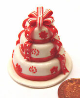 1:12 Scale White & Red 3 Tier Wedding Cake Dolls House Miniature Accessory ZG