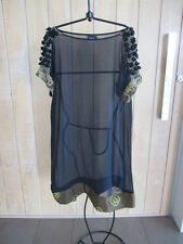 AKIRA ISOGAWA embellished sleeve design 100% silk tunic dress-14 $770 NEW!!!