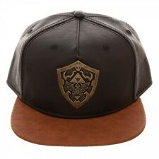 OFFICIAL THE LEGEND OF ZELDA METAL HYLIAN SHIELD BROWN PU SNAPBACK CAP (NEW)