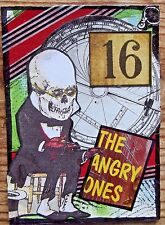 ANGRY Original Art Mixed Media Collage ACEO vintage SKULL ELECTION OUTSIDER