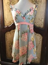 NWT Betsey Johnson Floral Tea Party Baby Doll Silk Dress