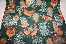 Vtg 80s Country CHICKENS Corn Eggs Cotton Fabric 2-1/3 yards