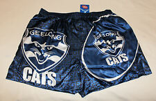 Geelong Cats AFL Mens Navy Blue Printed Satin Boxer Shorts Size L New