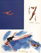 LEROY NEIMAN BOOK PLATE PRINT CHAMPION DIVERS MONTREAL OLYMPIC GAMES 1976