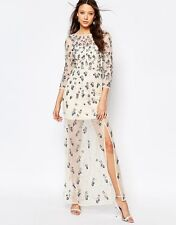 Stunning Cream Floral Embellished Maxi Dress w/ Thigh Split Size 16 Must Review!