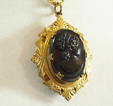 Vintage Black on Black CAMEO LOCKET Pendant Necklace Chain Gold Plated
